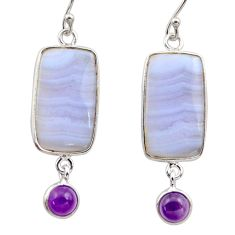 14.18cts natural blue lace agate amethyst 925 silver dangle earrings r30411