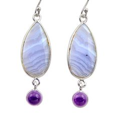 14.18cts natural blue lace agate amethyst 925 silver dangle earrings r30414