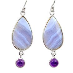 15.25cts natural blue lace agate amethyst 925 silver dangle earrings r30415
