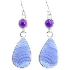 21.01cts natural blue lace agate amethyst 925 silver dangle earrings r86781