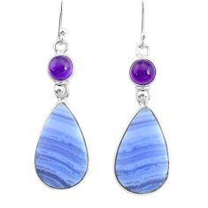 17.78cts natural blue lace agate amethyst 925 silver dangle earrings r86786