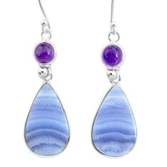 20.34cts natural blue lace agate amethyst 925 silver dangle earrings r86787