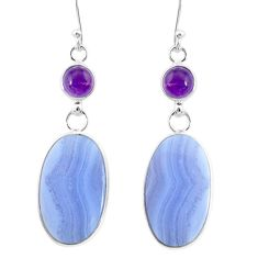 21.01cts natural blue lace agate amethyst 925 silver dangle earrings r86789