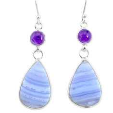18.39cts natural blue lace agate amethyst 925 silver dangle earrings r86790