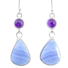 18.39cts natural blue lace agate amethyst 925 silver dangle earrings r86791