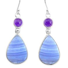 20.40cts natural blue lace agate amethyst 925 silver dangle earrings r86792
