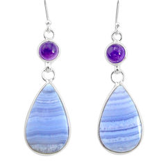 19.09cts natural blue lace agate amethyst 925 silver dangle earrings r86796