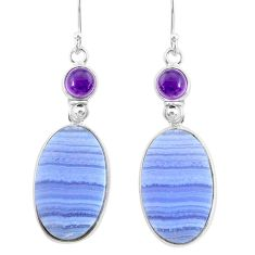 21.44cts natural blue lace agate amethyst 925 silver dangle earrings r86798