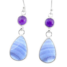 14.91cts natural blue lace agate amethyst 925 silver dangle earrings r86804