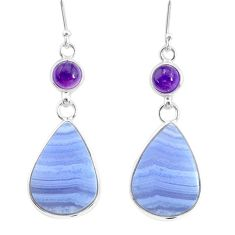 17.17cts natural blue lace agate amethyst 925 silver dangle earrings r86807