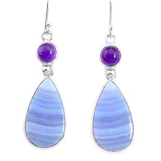 17.87cts natural blue lace agate amethyst 925 silver dangle earrings r86811