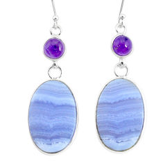 20.70cts natural blue lace agate amethyst 925 silver dangle earrings r86812