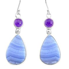 23.23cts natural blue lace agate amethyst 925 silver dangle earrings r86813