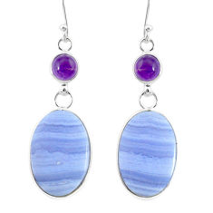 21.98cts natural blue lace agate amethyst 925 silver dangle earrings r86814