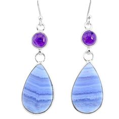 18.39cts natural blue lace agate amethyst 925 silver dangle earrings r86816