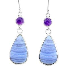 17.35cts natural blue lace agate amethyst 925 silver dangle earrings r86817