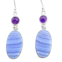 19.12cts natural blue lace agate amethyst 925 silver dangle earrings r86818