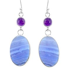 23.23cts natural blue lace agate amethyst 925 silver dangle earrings r86820