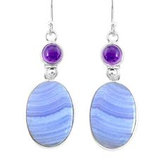 21.41cts natural blue lace agate amethyst 925 silver dangle earrings r86847