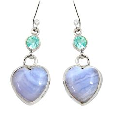18.68cts natural blue lace agate topaz 925 silver dangle earrings d39543