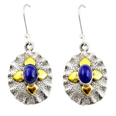 3.16cts natural blue lapis lazuli 925 silver 14k gold dangle earrings d47526