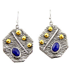 3.51cts natural blue lapis lazuli 925 silver 14k gold dangle earrings r37229
