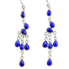 12.02cts natural blue lapis lazuli 925 silver chandelier earrings jewelry r33552