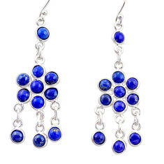 12.22cts natural blue lapis lazuli 925 silver chandelier earrings r35602