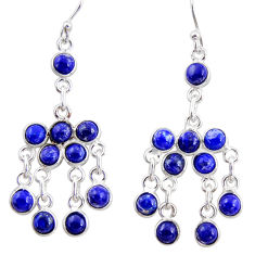 13.70cts natural blue lapis lazuli 925 silver chandelier earrings r35790