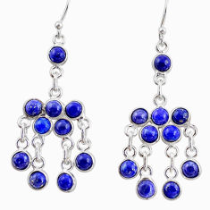 13.22cts natural blue lapis lazuli 925 silver chandelier earrings r35791