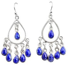 15.05cts natural blue lapis lazuli 925 silver chandelier earrings r37347