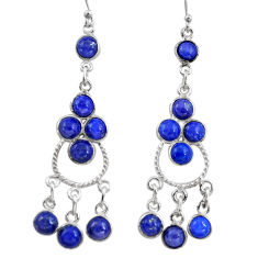 12.96cts natural blue lapis lazuli 925 silver chandelier earrings r37395