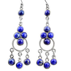 12.96cts natural blue lapis lazuli 925 silver chandelier earrings r37396