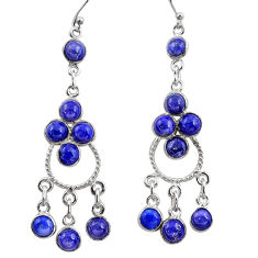 12.96cts natural blue lapis lazuli 925 silver chandelier earrings r37397