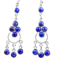 12.52cts natural blue lapis lazuli 925 silver chandelier earrings r37399