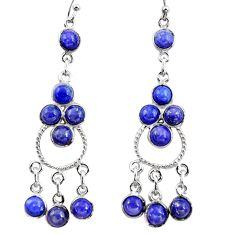 12.91cts natural blue lapis lazuli 925 silver chandelier earrings r37400