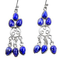 11.62cts natural blue lapis lazuli 925 silver chandelier earrings r37411