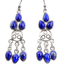 11.62cts natural blue lapis lazuli 925 silver chandelier earrings r37412