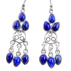 11.65cts natural blue lapis lazuli 925 silver chandelier earrings r37413