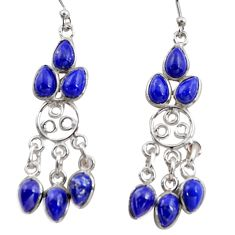 11.20cts natural blue lapis lazuli 925 silver chandelier earrings r37471