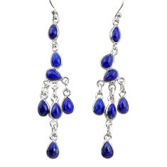 12.58cts natural blue lapis lazuli 925 silver dangle chandelier earrings r38661
