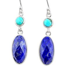 10.89cts natural blue lapis lazuli 925 silver dangle earrings jewelry r68289
