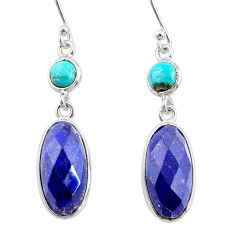 10.89cts natural blue lapis lazuli 925 silver dangle earrings jewelry r68291