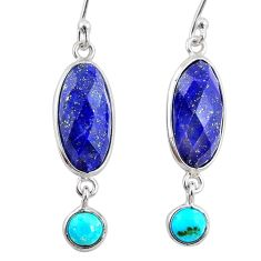 10.67cts natural blue lapis lazuli 925 silver dangle earrings jewelry r68294
