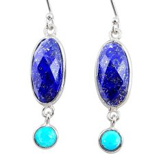 10.84cts natural blue lapis lazuli 925 silver dangle earrings jewelry r68295
