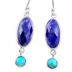 10.67cts natural blue lapis lazuli 925 silver dangle earrings jewelry r68296