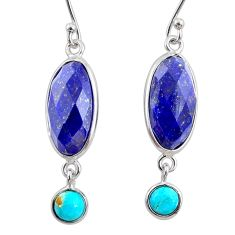 10.89cts natural blue lapis lazuli 925 silver dangle earrings jewelry r68297