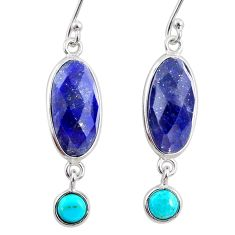 10.89cts natural blue lapis lazuli 925 silver dangle earrings r68293