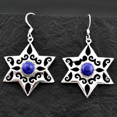 Clearance Sale- 4.73cts natural blue lapis lazuli 925 silver dangle star charm earrings d40618