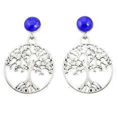 Natural blue lapis lazuli 925 silver tree of life earrings jewelry c11818